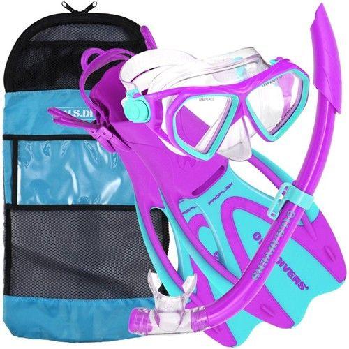 US Divers Kids Dorado Mask, Snorkel, ProFlex Fins & Bag