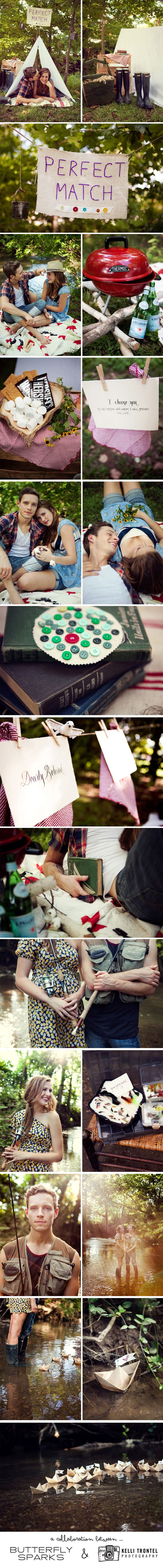 Lovely camping themed e-session. Sweet engagement shoot ideas
