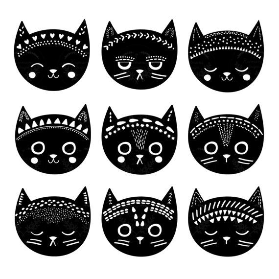 Black Cat Clipart, Black Cat Illustration, Cat Art, Tribal Cat Clipart, Vector Cat  -  This listing is for a clipart set of 9 digitally hand drawn tribal cat design elements. Can be used digitally or in print. Perfect for invitation design (christmas, birthday, party, etc), scrapbooking, cardmaking, stickers, announcement cards, blogs, digital stamps, greeting cards, web design, decorations or anything!