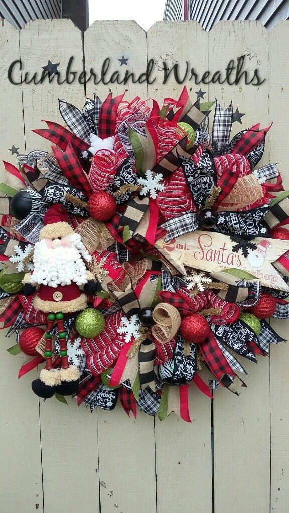 Mesh Christmas Wreath Plaid Ribbon Santa Snowflakes