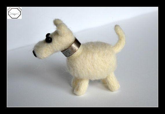 Snow Dog  White Dog  Soft Sculpture  Needlefelted by KubuHandmade