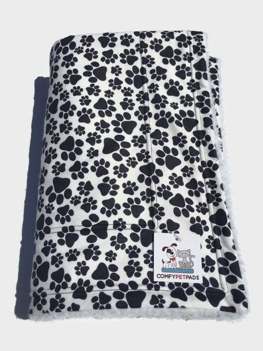Paw Print Dog Blanket, Flannel Baby Blanket, Stroller Cover, Crate Liner, Car Seat Cover, Puppy Bedding, Toddler Nap Mat, Black and White #DogBlanket #StrollerCover #PuppyBedding #DogCouchThrow #CrateLiner #PuppyBlanket #PuppyBabyBlankets #GiftForDogLovers #CarSeatCover #FlannelBabyBlanket