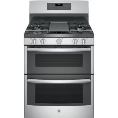 """This 30"""" GE® free-standing gas double oven convection range features 18,000 btu power boil burner with an extra-large integrated non-stick griddle. It also boasts an edge-to-edge cooktop making it easy to wipe away messes with a center oval burner ideal for griddle or odd-size cookware."""
