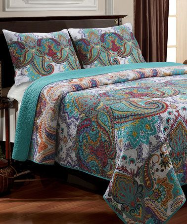 Love this Turquoise Nirvana Quilt Set by Greenland Home Fashions on #zulily! #zulilyfinds