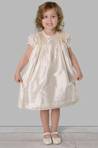 Silk Flower girl dress - smocked heirloom dress