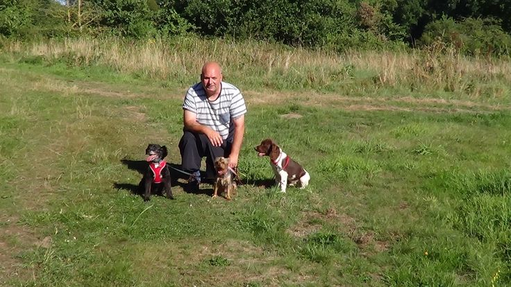Affectionately Paws :Billy Professional Dog Trainer, Puppy trainer, Dog Walker posing with these three munchkins in Hartley Wintney.