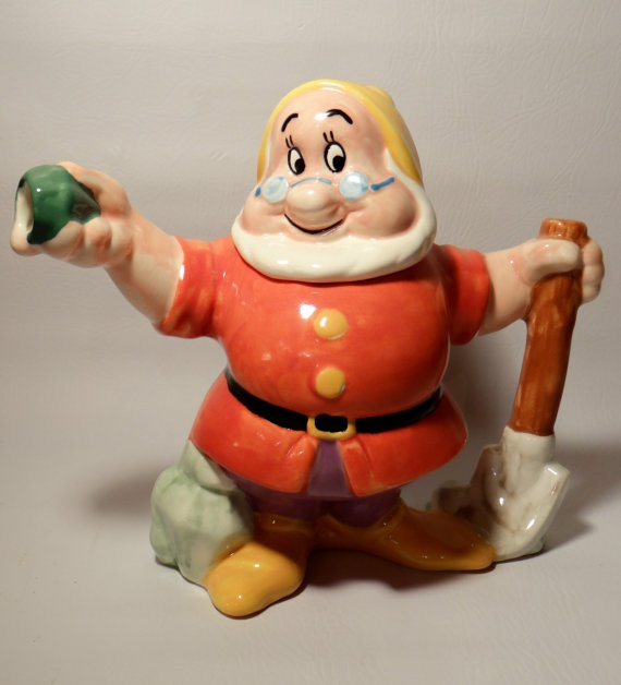 Vintage Teapot Figural Disney Snow White Seven by RidleysRecycling, $59.00