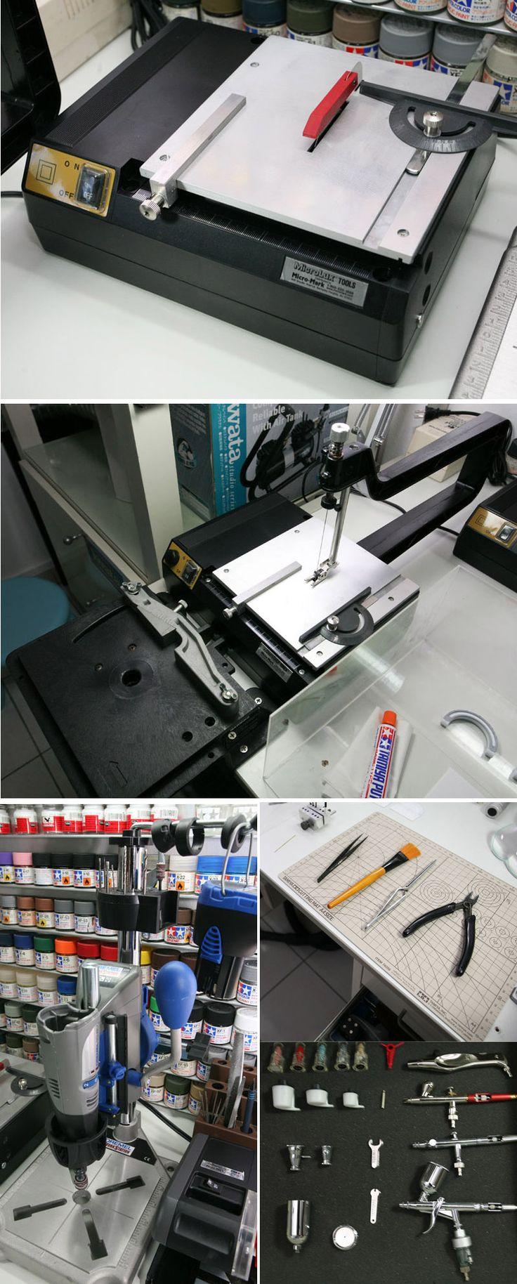 Model building workshop tools : Microlux Mini Scroll Saw, Microlux Mini Saw, Dremel Drill Press...   http://junaustriamodel.blogspot.ca/