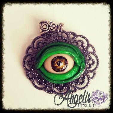 Handmade Polymer Clay Zombie Eye Cameo Pendant