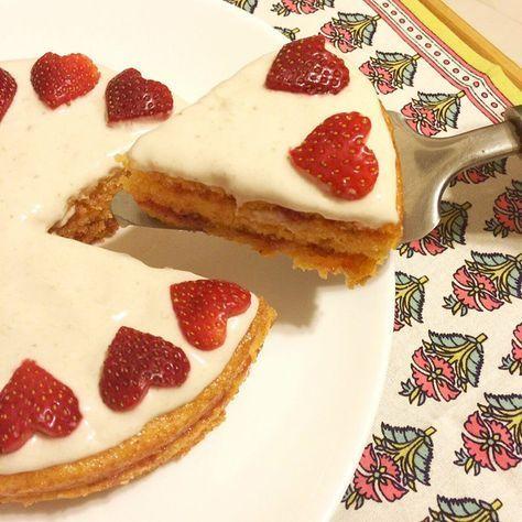Torta de pomelo rosado! Con crema de bananas y frutillas sin tacc / sin gluten / gluten free