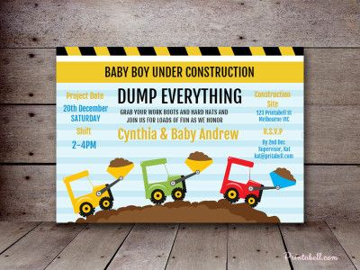Bs160 Construction Baby Shower Invitation