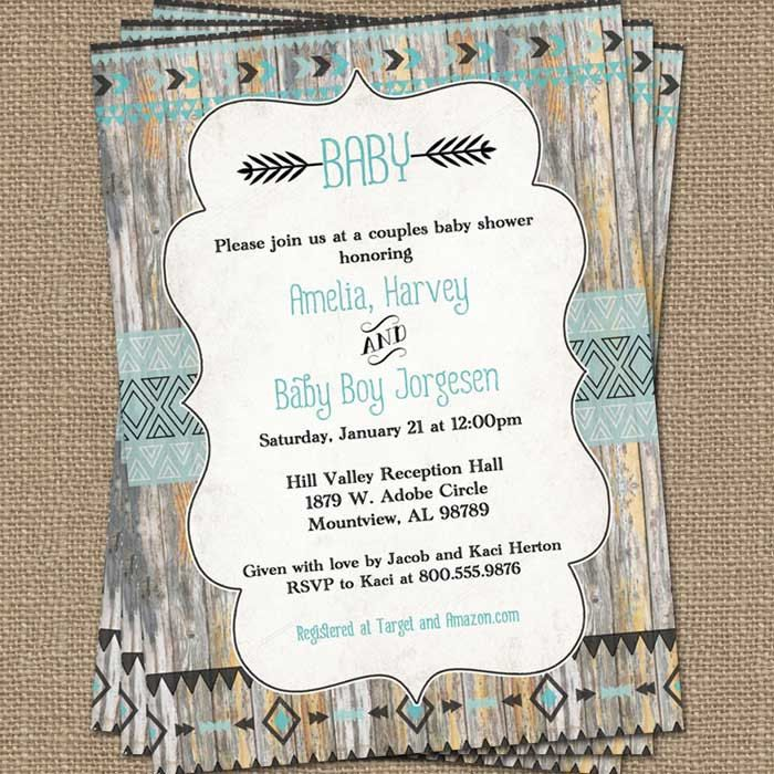 240 best gabyrachael images on pinterest girl baby showers tribal baby shower invitation wood background aqua and black digital printable file baby shower printable shower filmwisefo