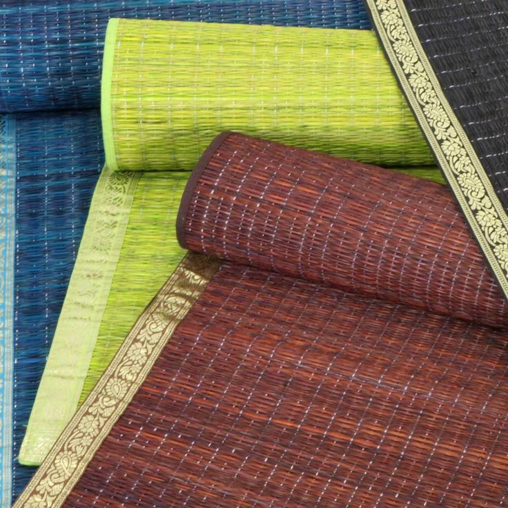 A unique offering from South India, these beautiful floor mats made of sea grass are perfect for the eco friendly consumer. Great for meditation room, yoga rooms, and more. Each mat is 36 X 72 inches. Available in shades of blue, green, brown and bla