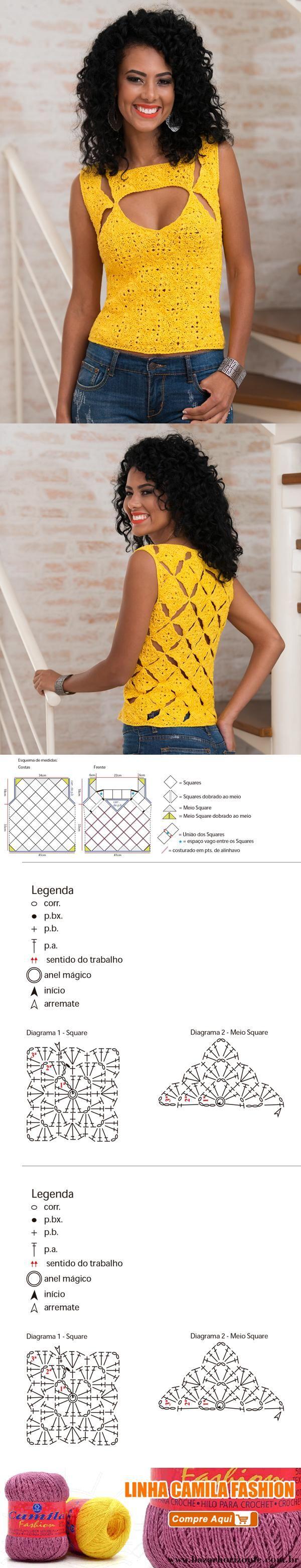 Blusa de Crochê Amarela de Motivos – Linha Camila Fashion