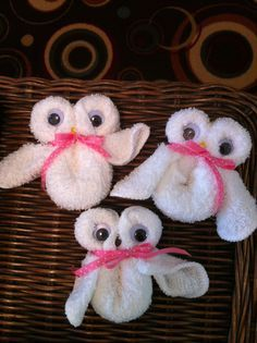 Cute Owl washcloth favors for baby showers made with love. <3  www.TopsyTurvyDiaperCakes.com * diaper cakes for baby shower & washcloth favors