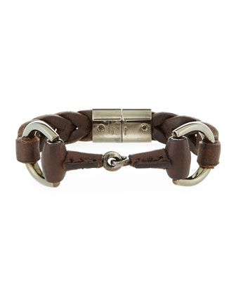 "Gucci  Men's Leather Horsebit Bracelet, Brown $790.00  Brown leather bracelet. Approx. 8""L. Palladium aged sterling silver hardware. Signature Gucci horsebit buckle. Magnetic slide closure. Made in Italy.    Men's+Leather+Horsebit+Bracelet,+Brown+by+Gucci+at+Neiman+Marcus."