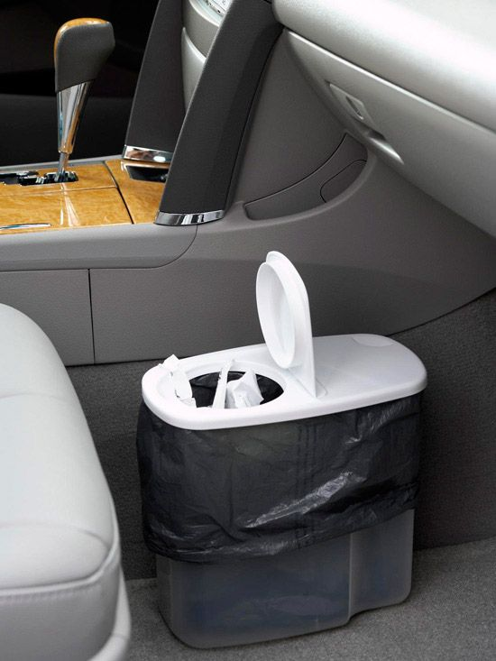 "Car trash keeper. Part of a Better Homes and Garden spotlight on ""16 Ways to Organize Your Recycling. Keep Your Car Tidy, Too  Convert a plastic cereal dispenser into a trash receptacle for your car. Fill with refuse and recyclables while you're driving, then sort or dispose of materials when you return home."