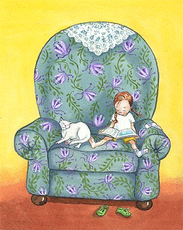 Reading in a big comfy chair with the cats ... by Philomena O'Neill