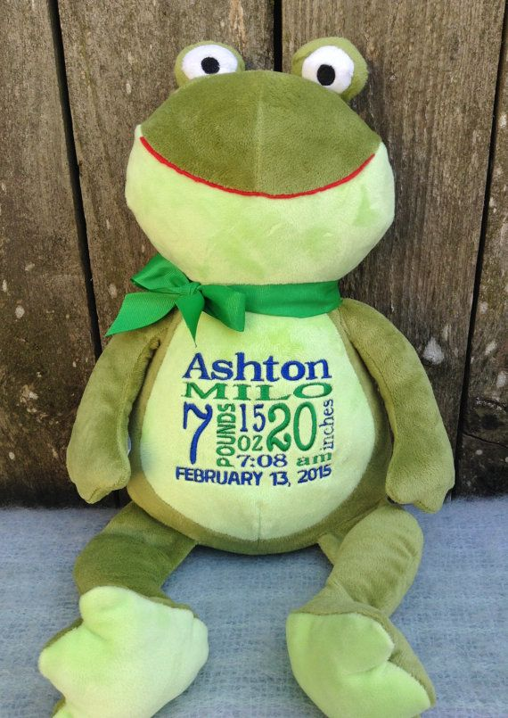 443 best personalized baby gifts images on pinterest personalized baby gift monogrammed frog by worldclassembroidery birth announcement new baby green frog baby boy negle Image collections