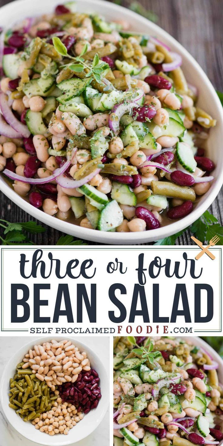 Three Bean Salad Is Good But Four Bean Salad Is Even Better This Flavorful Cold Protein Fiber Filled Bean Salad Recipes Cold Salad Recipes Four Bean Salad