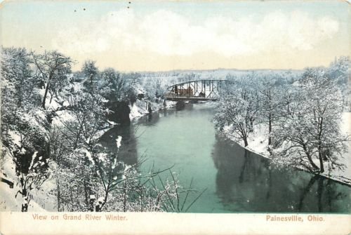 Painesville-Ohio-View-On-Grand-River-in-Winter-Bridge-1906-Postcard