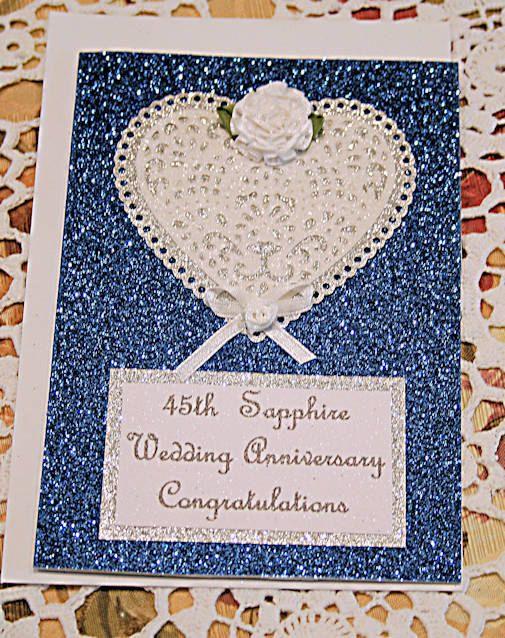 45th Sapphire Wedding Anniversary Glitter by CardsbyCoralJean