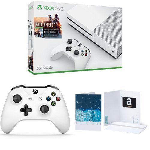 Xbox One S 500GB Console – Battlefield 1 + Extra Controller + $50 Amazon Gift Card Bundle #deals