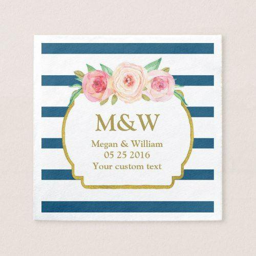 Inspirational Navy Stripes Gold Pink Floral Wedding Napkins In 2019 - Simple Elegant navy napkins Trending