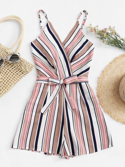 Shop Surplice Neckline Striped Cami Romper online. SheIn offers Surplice  Neckline Striped Cami Romper   more to fit your fashionable needs. 10760c17eea