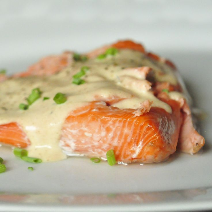Baked Salmon with Browned Butter Sauce      (serves 4)  Ingredients  1 – 1.5lb salmon filet with skin on  course sea salt  2 tablespoons butter  1 tablespoon flour  1 cup heavy cream  1/2 cup white wine  kosher salt  freshly ground black pepper  chives for serving