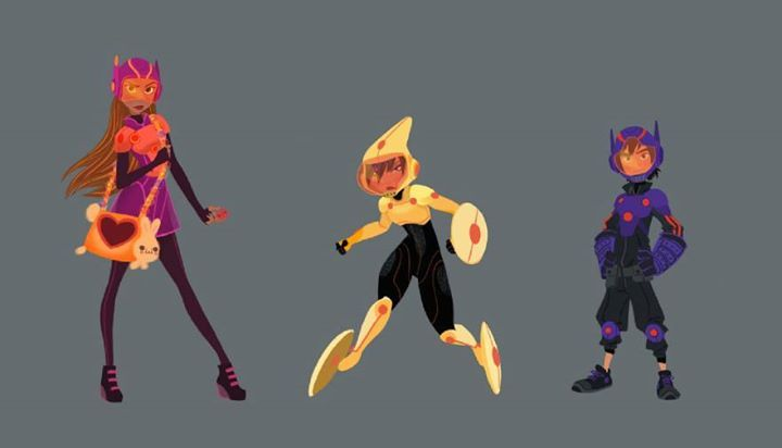 """Big Hero 6 Anime Characters : """"big hero line up color and costumes concept art by"""