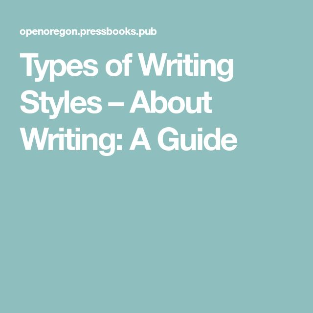 Types of Writing Styles – About Writing: A Guide