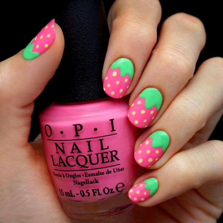 mani monday pink strawberry nail tutorial - Little Girl Nail Design Ideas