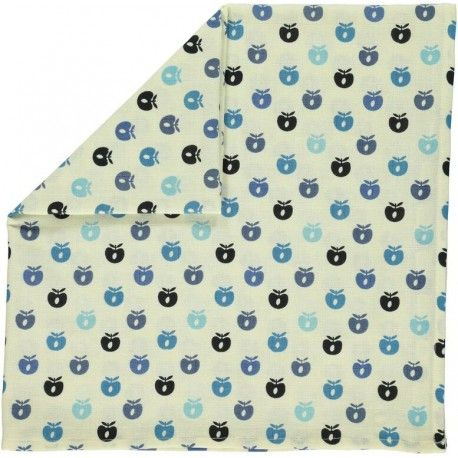 Cloth, white with mini apples in blue, Smafolk