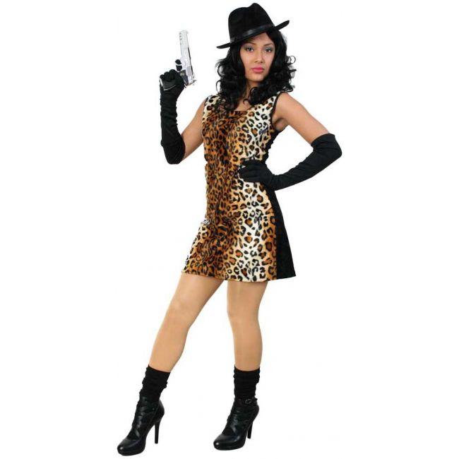 Sexy tijgerprint jurkje voor dames. Sexy jurkje met een tijgerprint bedrukte voorkant en een zwarte achterkant. Accessoires niet inbegrepen. Carnavalskleding 2015 #carnaval
