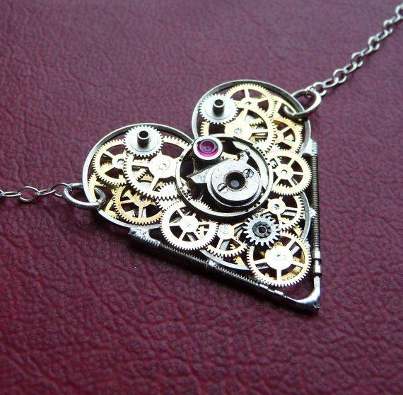 """Clockwork Heart Necklace """"Fate"""" Elegant Industrial Heart Steampunk Necklace Mechanical Love Choker Sculpture by A Mechanical Mind  @Reagan Richter"""