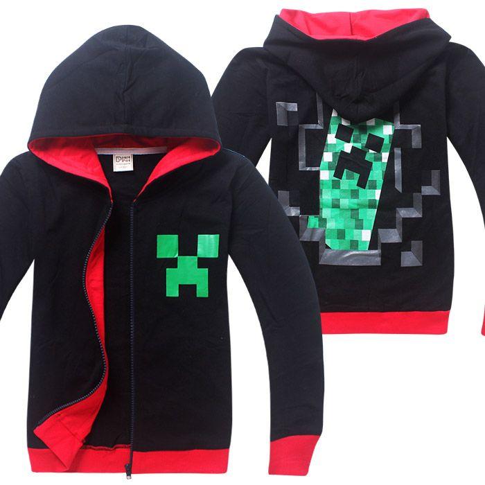 Детская кофта Майнкрафт Крипер, черная