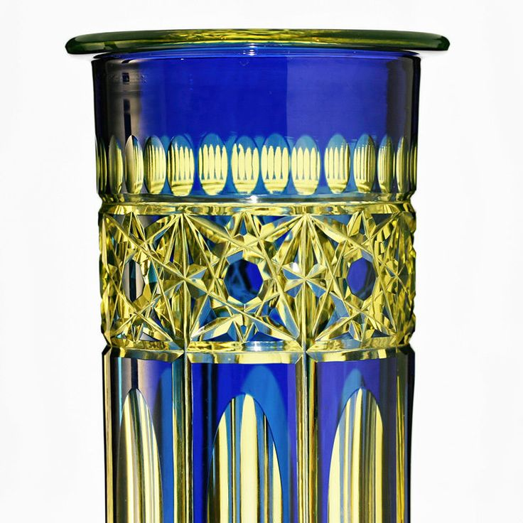 A fine and rare shaft and bun base crystal vase, the cobalt blue to Vaseline body cut with a hobstar band, stretched ovals, and fluting, the base is embellished with a twenty four point rayed star. Condition: stand wear to the under-base; light surface age and use wear; nothing further found; reacts strongly to UV/Blacklight. | eBay!