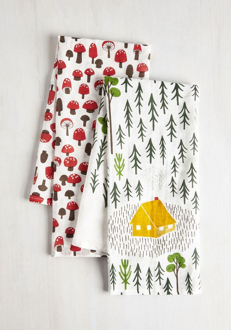 Home Sweet Hideaway Dish Towel Set. The charms of the great outdoors dont have to stop at the front door - bring them into your abode with this darling dish towel set. #multi #modcloth