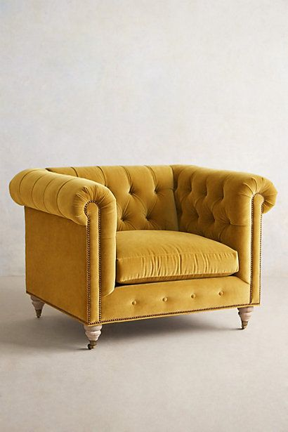 Lyre Chesterfield Armchair - anthropologie.com (emerald, charcoal, navy, light grey, light blue, eggplant, scarlet, gold, teal)