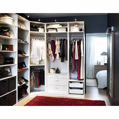 PAX wardrobe with interior organizers...bringing it around the corner in our master is an option.