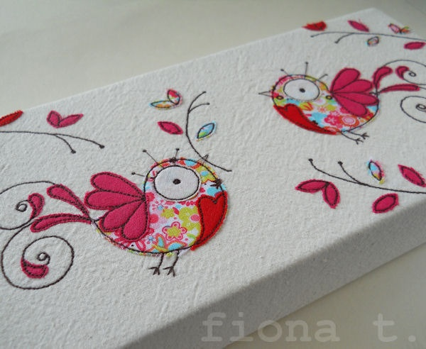 embroidered peace doves textile art, by FionaT