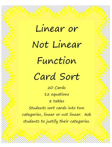 Algebra's Friend: Using Card Sorts in Math Class...great idea and many ways to adapt using the big 4 (algebraically, graphically, numerically, verbally)