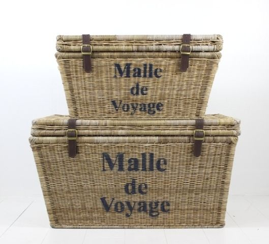 Sneak Peak!! New summer 15/16 collection!! A gorgeous set of 2 Trunks made from our famous vintage rattan.#summer #hamptons #traveltrunk #villamaison