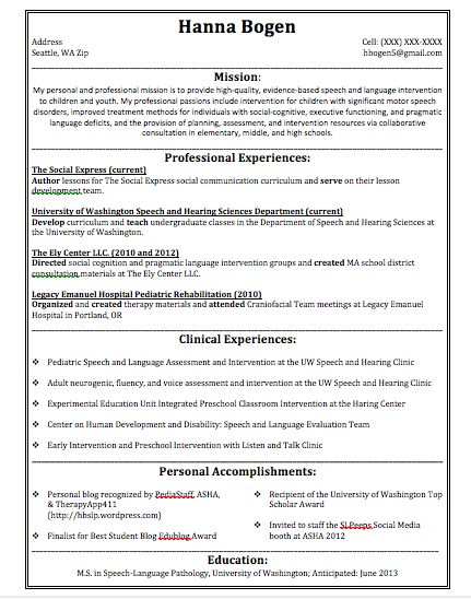 64 best Job Opportunities\/ Graduate School images on Pinterest - speech language pathology resume