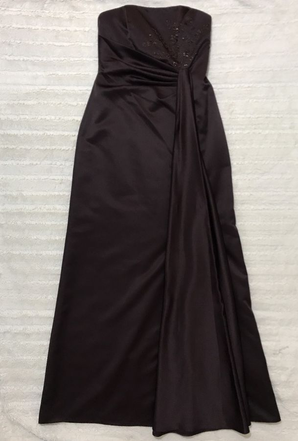 98e26f74d96 David s Bridal Long Satin Chocolate Brown Bridesmaids Gown Sz 6 EUC  F11606   250