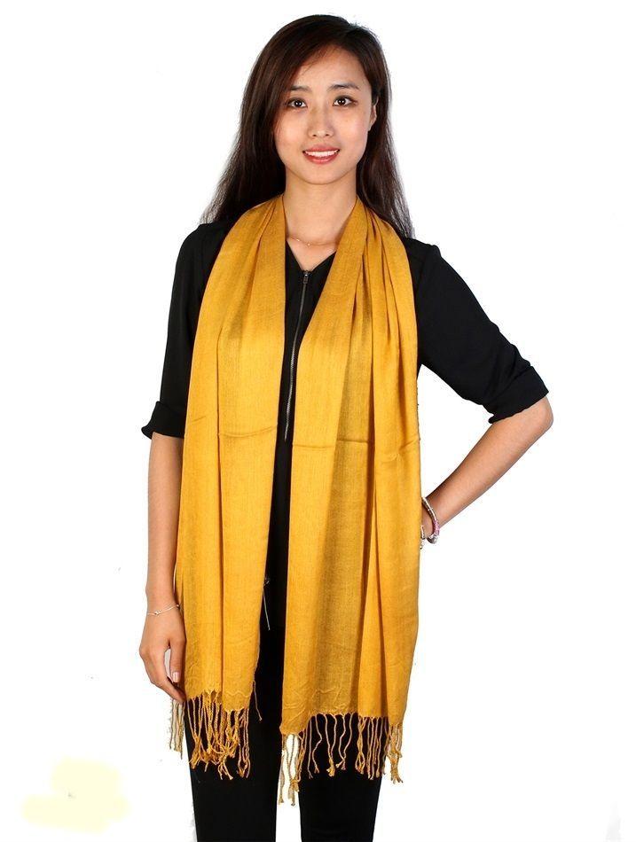 "Mustard Yellow Pashmina Silk Blend Fashion Scarf Wrap 72"" X 40"" NEW NWT #NorthSouthFashions #Pashmina"