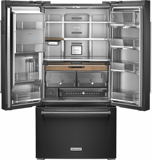 KitchenAid - 23.8 Cu. Ft. French Door Counter-Depth Refrigerator - Black Stainless Steel - AlternateView1 Zoom