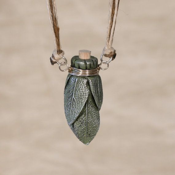 Sage Smudge Stick Bottle Necklace. great for oils!