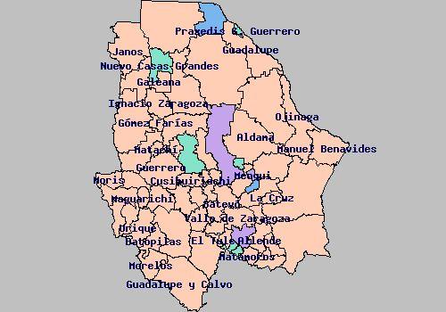 Resultado de imagen para mapa de chihuahua con nombres de municipios